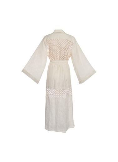 Women&Women Keten Gömlek Elbise Beyaz